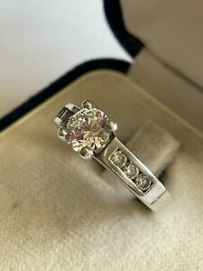 Vintage 925 Silver & Cubic Zirconia Solitaire With Accent Dress Ring Size Q 3.9g