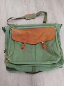 EDDIE BAUER Friday Harbor GARMENT BAG Olive Green Canvas Leather Luggage Vintage