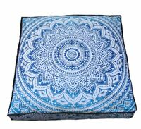 Large Ombre Mandala Floor Pillows, Square Cushion Cover, Decorative Throw Pillow