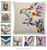 Cotton Linen Eagle Pattern Pillow Case Sofa Waist Throw Cushion Cover Home Decor