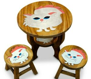 Children's Table With Chairs Kid's Room Furniture Wood Child Seat Table 2 Stools