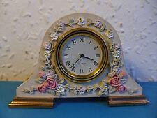 Miniature Napoleon Style Ceramic Floral Desk Clock In Full Working Order.Quartz