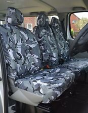 FORD TRANSIT (MK7) - VAN SEAT COVERS CAMOUFLAGE GREY HEAVY DUTY SINGLE + DOUBLE