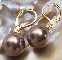 new 8 10 12 14MM Genuine brown south sea shell pearl Leverback earrings AAA