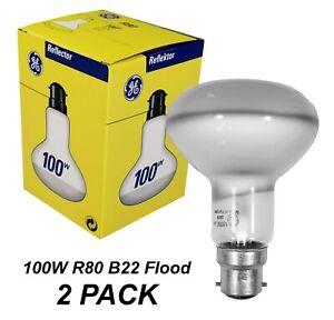 2 x 100W Incandescent R80 Reflector Light Globes Bulbs Bayonet B22 BC - GE brand