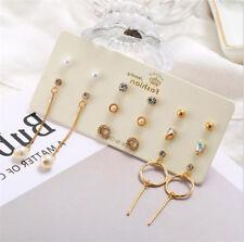 8 Pairs/Set Zircon Ear Studs Pearl Circle Earrings Dangle Luxury Women's Jewelry
