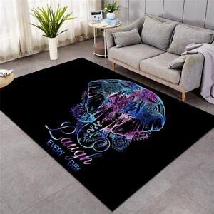 Purple Mandala Elephant Laugh Boho Rectangle Rug Carpet Mat Living Room Bedroom