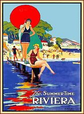 Summer time Riviera France French Beach Vintage Travel Advertisement Poster