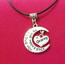 Antique Silver Plt 'I Love You To The Moon & Back Granny' Necklace Pendant Gift