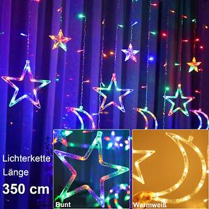 LED Weihnachts Lichterkette Fenster Lichtervorhang Innen Außen Gartenbeleuchtung