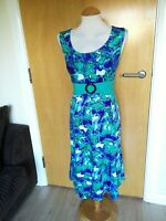Ladies Dress Size L 14 16 Blue Green Shift Stretch Smart Party Evening Wedding