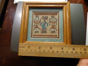 """Vintage Signed Navajo Native American Sand painting Art 5""""X5"""""""