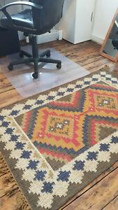 Wool Jute Kilim taupe,blue,ochre 150x215cm Quality Hand Made Reversible rug