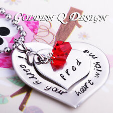 Personalised Stainless Steel Any Name Or Word Heart Necklace Birthday Gift D160
