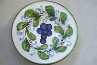 """Signed Hand Painted  Grapes & Leaves Wall Hanging 6.5"""" Plate Made In Italy"""