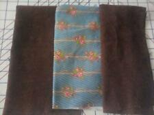 "Floral Corduroy Cotton Fabric 13"" x 16"" Brown corduroy fabric 2 pcs mask craft"