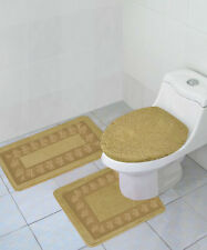 Taupe Tan 3Pc Set Bathroom Solid Embroidery Anti-Slip Backing Bathmats #5