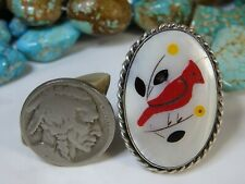 """Vintage ZUNI Mother Of Pearl inlay STERLING Silver CARDINAL Ring sz6.5 1&3/8""""wde"""