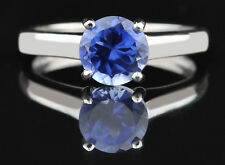 925 Sterling Silver Natural Blue Tanzanite 1.40Ct Round Shape Solitaire Ring