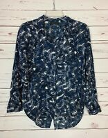 ASTR Women's XS Extra Small Blue Black Button Long Sleeve Cute Spring Top Blouse