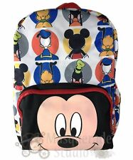 """16"""" Disney Mickey Mouse Large White Backpack Donald Goofy Pluto Mickey Face"""