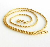 Twist Rope Lobster Clasp Chain Necklace Men Women 24K Yellow Gold Plated 45cm UK