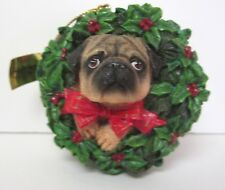 """Pug Dog """"All Decked Out"""" Danbury Mint Christmas Ornament"""