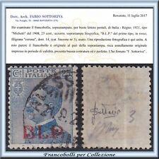 1921 Italia Regno B.L.P. cent. 25 azzurro n. 3 Certificato Usato ** BLP