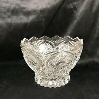 """Vintage Lead Crystal 5-1/2"""" Orante Bowl Starburst Snowflake Pattern"""