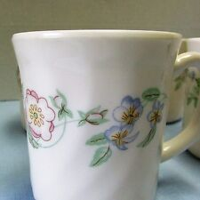 Champetre Arcopal Set of 6 Coffee Cups Mugs Swirl Blue Pink Floral Opaline