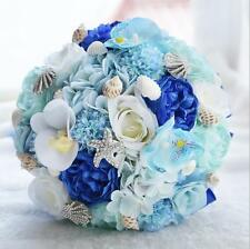 Wedding Flowers Bridal Bouquet Rhinestone Artificial Wedding Bouquets Blue Beach