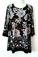 WOMEN'S INVESTMENTS BLACK WITH FLORAL PRINT 3/4 SLEEVE STRETCHY TUNIC TOP SIZE M