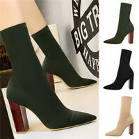 Ladies Pointed Toe High Block Heels Ankle Boots Women Sexy High Block Heel Shoes