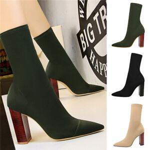 Fashion wood grain high heels thick heel pointed elastic lycra sexy high heels