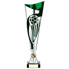 Champions Football Presentation Cup Silver Green 325mm FREE Engraving