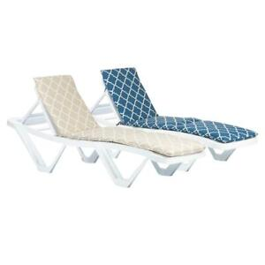2x Master Sun Lounger Cushions Padded Outdoor Patio Garden Moroccan Blue & Beige