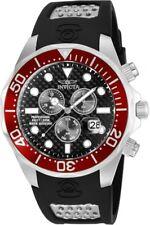 New Men Invicta Pro Diver Chronograph Black Rubber Strap Watch
