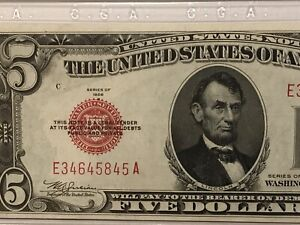 1928-B $5 United States Legal Tender-Red Seal-ABOUT UNCIRCULATED 58 GRADED