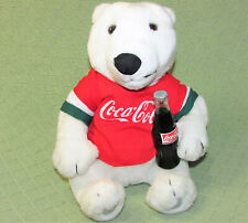 "VINTAGE COCA COLA POLAR BEAR STUFFED ANIMAL 1998 11"" PLUSH JERSEY COKE BOTTLE"