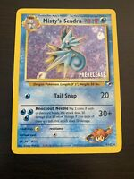 Misty's Seadra Pre-release - 9/132 HOLO/Rare Pokemon Card - Stamped - Gym Heroes