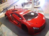Painted Red Supercar Nitro Body For Redcat 1/10 RC Touring/Drift Car (Body Only)