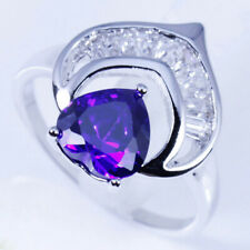 Zirconia Crescent Ring New 2Sizes Available Deep Purple Amethyst In Silver Cubic