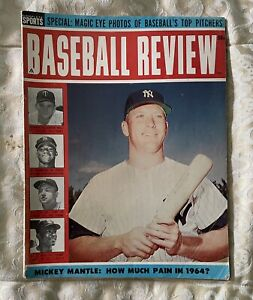 1964 Baseball Review Magazine Mickey Mantle Front Cover EX corner missing pg 57