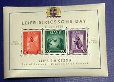 Iceland Block 1938 Leif Eiricsson Memorial Block - MNH - Excellent