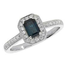 Diamond Cluster Sapphire White Gold Fine Rings