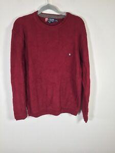 Chaps Ralph Lauren mens burgundy knit jumper sweater size S long sleeve cotton