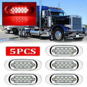 """5x 16 LED Red 6.5"""" LED Side Marker Turn Signal Light For Peterbilt Mack Chrome"""