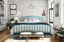 Novogratz Bushwick King Size, Metal Bed, Sturdy Metal Frame, Blue