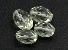Natural Prasiolite Green Amethyst Laser Cut Faceted Oval Nugget Gemstone Beads