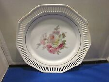 Schwarzenhammer Bavaria Pierced Dish with Rose Pattern Western Germany 9""